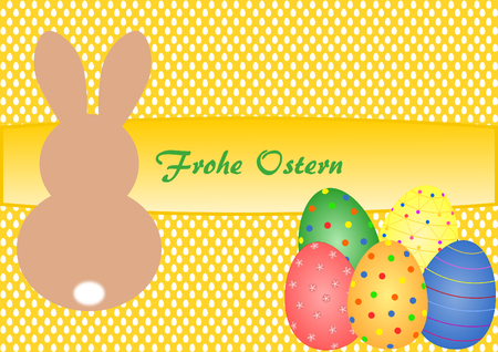 textfield: Easter card with lettering Happy Easter in German and Easter Bunny with Easter eggs on yellow background with Easter eggs pattern Stock Photo