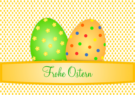 german tradition: Easter card with two large colorful Easter eggs on a background with small orange eggs and a text banner with lettering Happy Easter in German