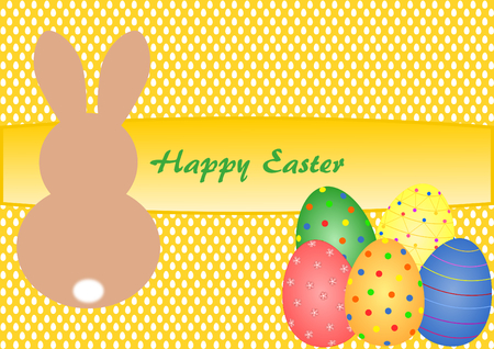 Easter card with lettering Happy Easter and Easter Bunny with Easter eggs on yellow background with Easter eggs pattern