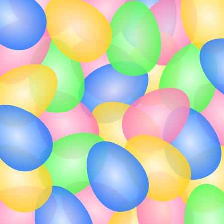 Large colorful easter eggs slightly transparent overlapping placed in square format