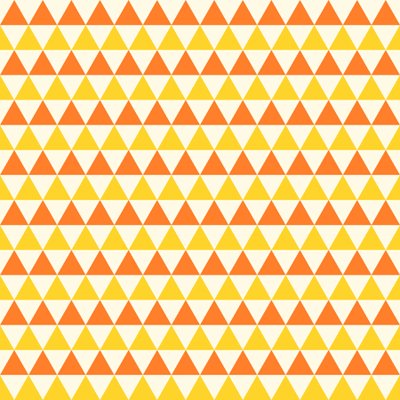 staggered: Triangles in yellow and orange staggered in rows in a square format