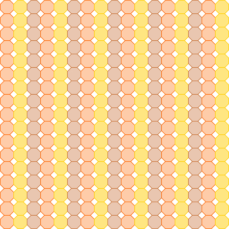 repetition row: Octagons in yellow, orange and brown set in rows in a square format