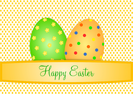 Easter card with two large colorful Easter eggs on a background with small orange eggs and a text banner with lettering Happy Easter in English