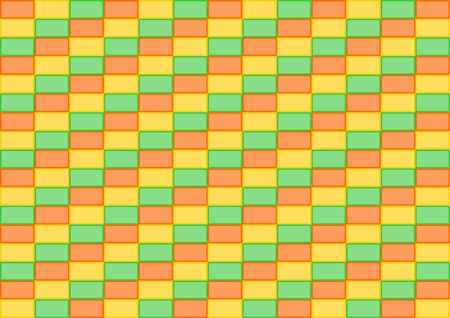 landscape format: Orange, yellow and green rectangles placed in rows and colors offset in a landscape format