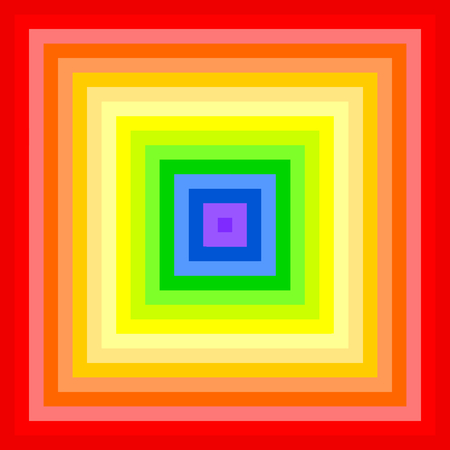 rainbow colors: Small squares placed together in rainbow colors forming a large square