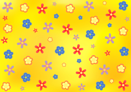 landscape format: Various colorful flowers on an orange-yellow background in landscape format