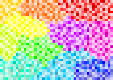 landscape format: Colorful squares set in different color fields in the gradient in a landscape format