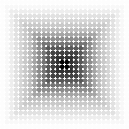 linearly: White dots in linear gradient to black in a square, from outwards to center, in square format
