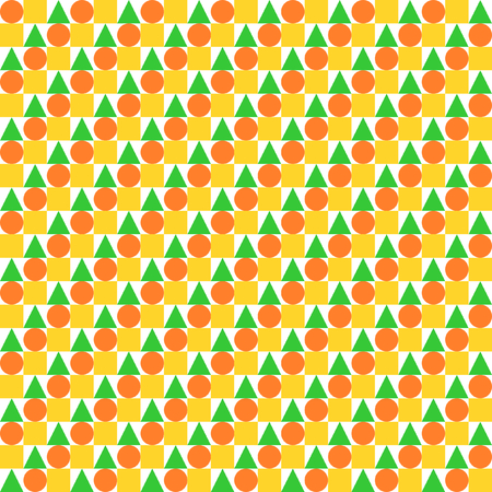 offset: Circles, squares and triangles evenly offset placed in rows in yellow, orange and green in square format