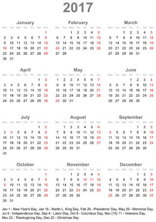 Einfacher Kalender 2017 markiert den offiziellen Feiertagen für die USA. Die Woche beginnt am Sonntag.