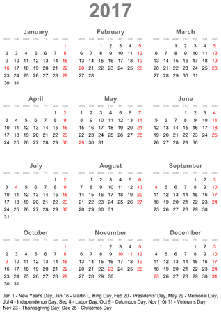 Simple calendar 2017 marked with the official holidays for the USA. The week starts on sunday.