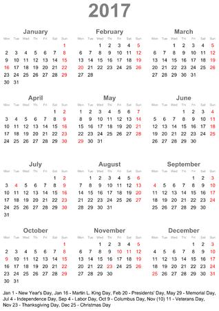 シンプル カレンダー一目 - 2017年-1 年間肖像画の形式では、アメリカの祝日と月曜日を開始します。