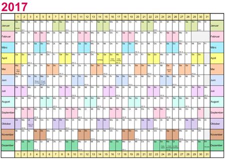 Jahresplaner 2017 linear mit Feiertagen und jeden Monat in verschiedenen hellen Farben für Deutschland