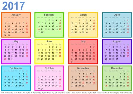 別様に着色された正方形と米国の祝日のマーキングで毎月、2017 年予定表