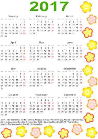 マーキングと色とりどりの花で縁取られたアメリカの祝日の一覧カレンダー 2017  イラスト・ベクター素材