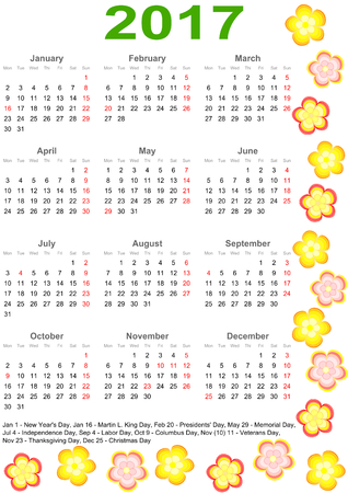 Calendar 2017 with markings and a list of public holidays for the USA edged with colorful flowers Иллюстрация