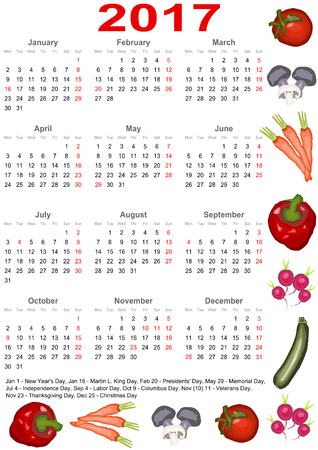 Calendar 2017 with markings and below a list of public holidays for the USA and edged with various vegetables Çizim