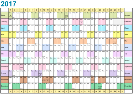 Year Planner 2017 linearly with public holidays and each month in different bright colors for the USA