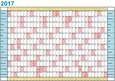 days: Year Planner 2017 linear with public holidays for the USA in a landscape format