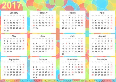 カラフルなサークル、白の正方形で毎月とアメリカの祝日カレンダー 2017年背景 写真素材