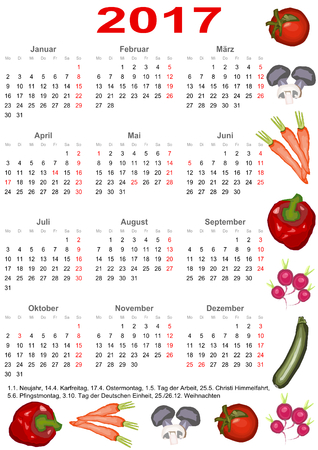 edged: Calendar 2017 with markings and below a list of public holidays for Germany and edged with various vegetables Illustration
