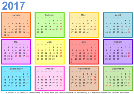 differently: Calendar 2017, each month in a differently colored square and markings of public holidays for Germany