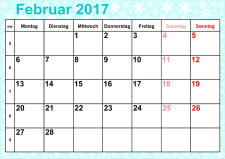 months: Calendar 2017 months February with holidays for Germany on ice-blue background with snowflakes