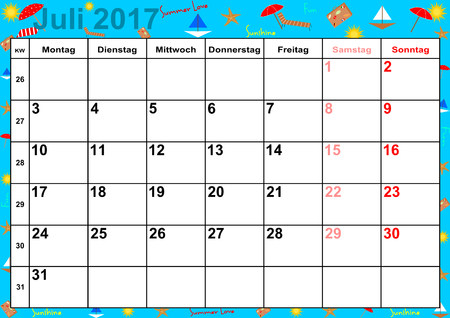 summery: Calendar 2017 months July with holidays for Germany on colorful background with summery motifs Illustration