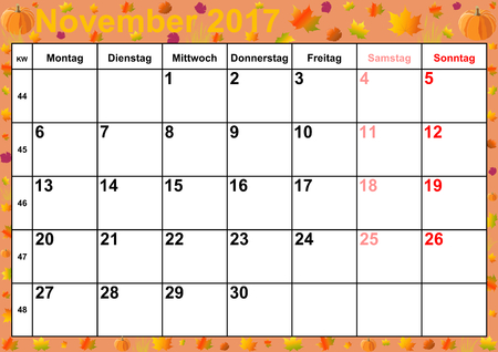 motifs: Calendar 2017 months November with holidays for Germany on colorful background with autumnal motifs