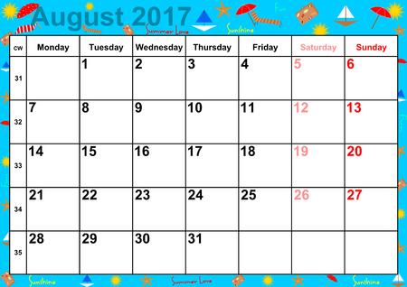 Kalender 2017 maanden augustus met op kleurrijke achtergrond met zomerse motieven vakanties voor de VS