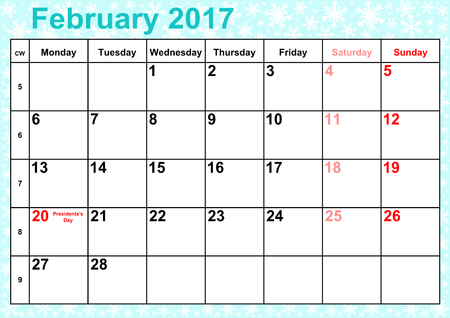 Calendar 2017 months February with holidays for the USA on ice-blue background with snowflakes