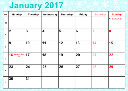 Calendar 2017 months January with holidays for the US on ice-blue background with snowflakes