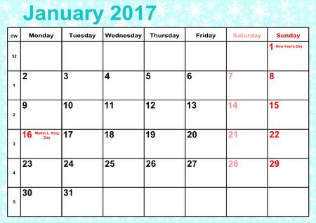 Kalender 2017 Monate Januar mit Feiertagen für die USA auf Eis-blauen Hintergrund mit Schneeflocken Vektorgrafik