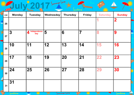 summery: Calendar 2017 months July with holidays for the US on colorful background with summery motifs