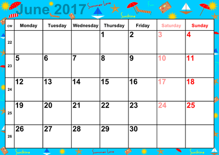 summery: Calendar 2017 months June with holidays for the US on colorful background with summery motifs