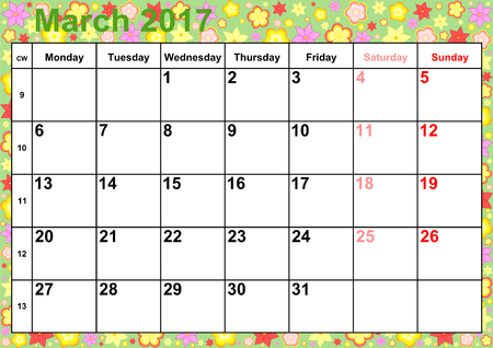 Calendar 2017 months March with holidays for the US on colorful background with different flowers