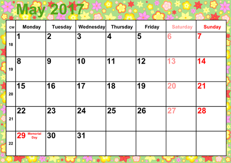 Calendar 2017 months May with holidays for the US on colorful background with different flowers