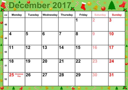 Kalender 2017 maanden december, met op kleurrijke achtergrond met kerst motieven vakanties voor de VS