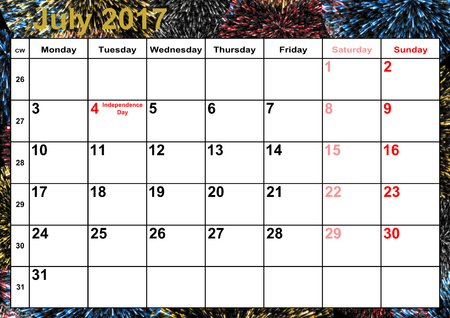 Calendar 2017 months July with holidays for the US on colorful background with fireworks