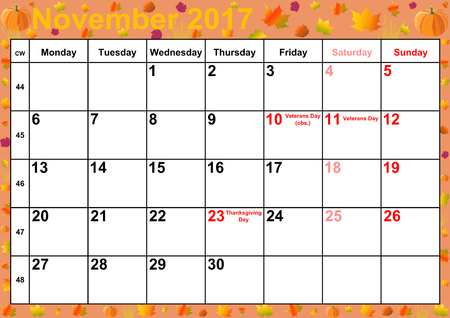 Calendar 2017 months November with holidays for the US on colorful background with autumnal motifs