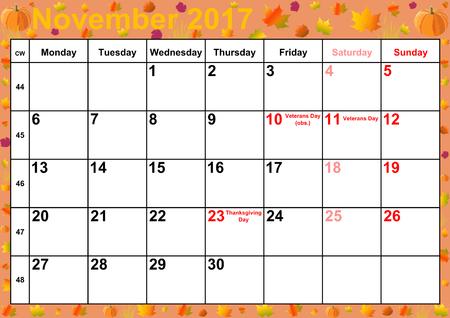 Kalender 2017 maanden november met op kleurrijke achtergrond met herfst motieven vakanties voor de VS