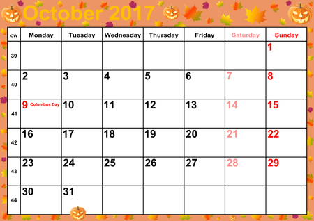 Calendar 2017 months October with holidays for the US on colorful background with autumnal and Halloween motifs Stock fotó