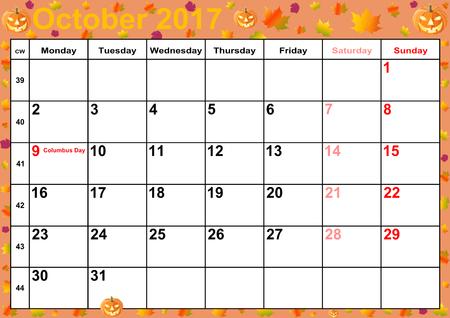 Kalender 2017 maanden oktober met op kleurrijke achtergrond met herfst en Halloween motieven vakanties voor de VS Stockfoto