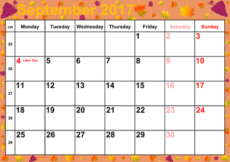 autumnal: Calendar 2017 months September with holidays for the US on colorful background with autumnal motifs and red wine grapes