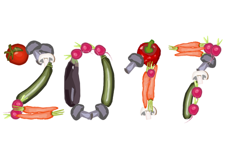 turns of the year: 2017 single numbers made of various vegetables on a white background in a landscape format