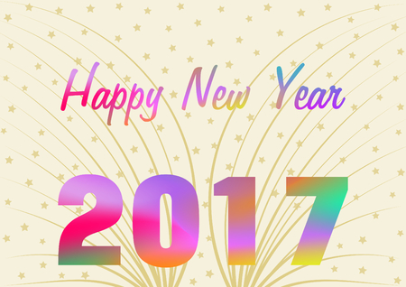 landscape format: Colorful 2017 and Happy New Year greetings on a gold background with golden beams and stars in a landscape format