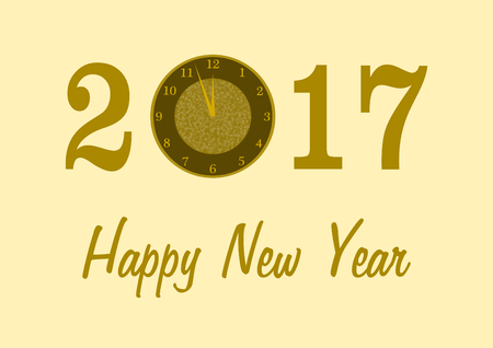 landscape format: 2017 in golden numbers with a clock instead of 0 and Happy New Year lettering below on a golden background in a landscape format