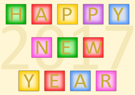 landscape format: Colorful lettering Happy New Year build with colorful buttons and the large date in 2017 in the background in a landscape format Stock Photo