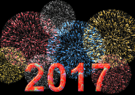 date night: Colorful 2017 with firework on black in the background in a landscape format