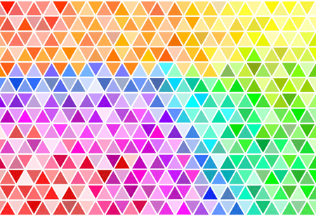 Colorful triangle painted in watercolor with white border